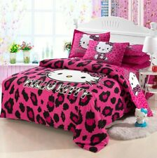 3D Leopard Hello Kitty Kids Bedding Set Duvet Cover Bed Sheet twin full queen