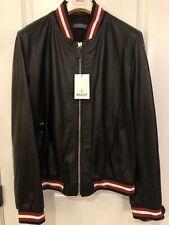 Men's Black Bally Lambskin Leather Jacket Size 56 NWT 100% Authentic