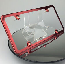 New Candy Red License Plate Slim 4 Hole Frame w/ Aluminum Circle Type Screw Caps