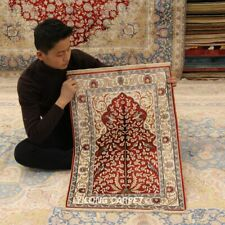 Yilong 2'x3' Red Handmade Carpets All Over Pictorial Hand Knotted Silk Rugs 418M