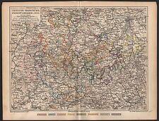 SÄCHSISCHE HERZOGTÜMER SCHWARZENBURG und  REUSS historische Karte 1879 Map