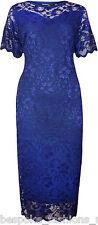 Ladies Womens Plus Size Twin Layer Floral Lace Bodycon Contrast Midi Dress 14-28 Royal Blue 22-24