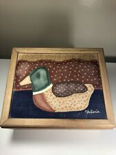 Vintage Wood Handmade 11�x9� Trinket Box Quilted Top Mallard Duck Signed Valorie