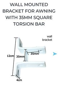 Standard Awning Wall Bracket Fit 35mm Square Torsion Bar White Brand New