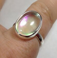 mystic angel aura solid Sterling Silver oval Ring, UK Size L 1/2, new,