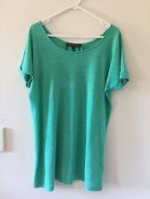 Womens Maggie T 100% Linen Short Sleeve Top T-Shirt Tee Green Size 0