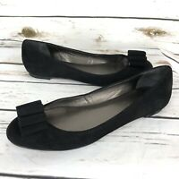 Talbots Flats 9.5 Black Leather Suede Bow Womens Shoes