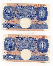 COPPIA di Banca d'Inghilterra £ 1 BANCONOTE Peppiatt 1940 di serie L 63 H