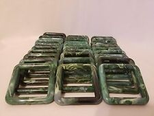 "Lot 30 Square 3"" Three Inch Green Marble Plastic Marbella Macrame Craft Rings"