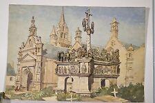 Grande Aquarelle Originale BRETAGNE Eglise Calvaire Cimetière GUIMILIAU 1920