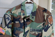 Woodland camo uniform, 1st Cav, top Small Reg, pants Small Long (LOC = A2 -box