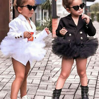 3-8T Toddler Kids Baby Girl Solid Coat Party Long Sleeve Tulle Dress Outfit Suit
