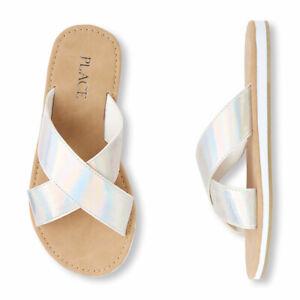 NWT The Childrens Place Girls Metallic Cross Slide White Shimmer Sandals Size 11