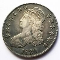 1830 SMALL 0 CAPPED BUST HALF DOLLAR XF ORIGINAL COIN NICE!