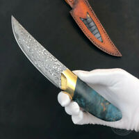 DAMASCUS CAMPING KNIFE FIXED BLADE WITH SHEATH SURVIVAL OUTDOOR HUNTING KNIFE
