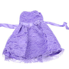 Handmade Off Shoulder Lace Clothes Flower Belt Dress for 18inch Girl Doll Party