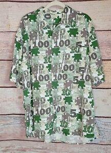 MONEY PRINT SIZE XXL Multicolor Button-Up MENS GREEN Dollar SHORT SLEEVE EUC