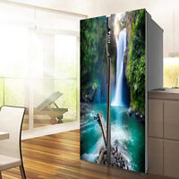 3D Tropical jungle Waterfall Self Adhesive Fridge Stickers Refrigerator Murals