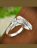 Womens Cubic Zirconia Engagement Wedding Promise Ring 2 pc Set Size 7