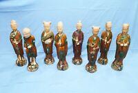 lotto Antiche sculture cinesi 8 immortali otto ceramica mingqi XIX secolo grandi