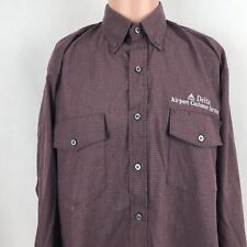 Cintas Delta Airlines Airport Customer Service Employee Button Down Shirt L