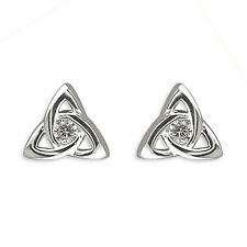 925 Sterling Silver Earrings- Celtic Triangle Knot Studs w/CZ 7mm -Free Gift Box