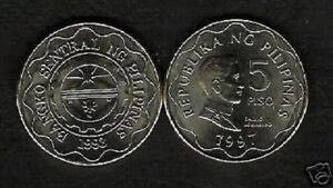PHILIPPINES 5 PESOS KM-272 1997 DATE x 1 AGUINALDO UNC CURRENCY ASEAN MONEY COIN