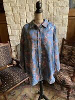 1X 22/24 Beautiful Lightweight Suede Floral Denim Blue Chambray Floral Shirt
