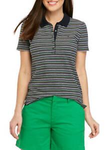 BNEW Tommy Hilfiger Women's Short Sleeve Stripe Polo Shirt, XSmall