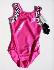 Nwt Destira Gymnastics Leotard Cl Sleeveless Child Large Pink Metallic Zebra