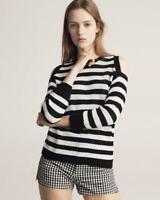 Rag & Bone Jeans $225 Black & White Tracy Crew Striped Cold Shoulder Knit Top S