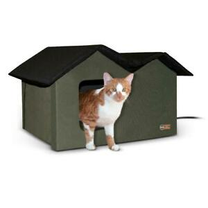 HEATED CAT HOUSE with Door Flaps Extra Wide Outdoor Black Olive K&H PET PRODUCTS