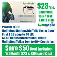 Free 1st Month - LycaMobile Prepaid SIM Card $23 Unlimited Talk Text & Data Plan