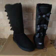 UGG Bailey Bow Triple Triplet Tall Black Boots Suede Sheepskin Size US 9 Womens