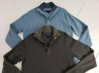 Hathaway Men's Snap Ribbed Mock Neck Sweater/Pullover (Blue/Gray) (Medium) *NWT*