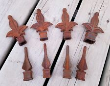 Truely Vintage Cast Iron Finials Fence Toppers Spears and Fleur de Lis / 8 Total
