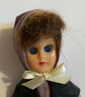 "Vintage Hard Plastic Amish Doll / Amish Costume / Blue Eyes / 6"" Tall"