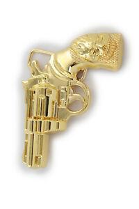 New Men Belt Buckle Gold Metal Western Fashion Cowboy Pistol Revolver Gun Weapon