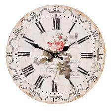 Wanduhr Küchenuhr Landhausstil Rose Uhr Nostalgie Vintage Stil Look Weiß Holz