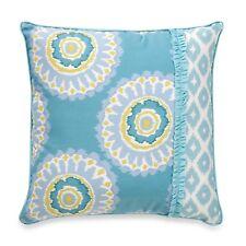 """DENA Home,18"""" Square Throw Pillow, BREEZE, Medallion, Aqua Turquoise White NEW"""