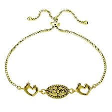 Gold Tone over Silver MOM Mother & Daughter Heart Polished Adjustable Bracelet