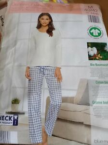 schlafanzug damen Blue Motion Oberteil weiss dünne Baumwolle Hose flanell 40/42