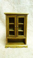 DOLLHOUSE MINIATURES WOODEN BOOKSHELF CHINA HUTCH W/ DOUBLE DOORS #21