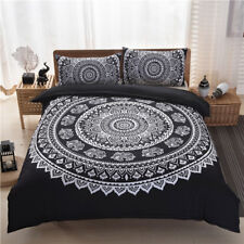 Bohemian Black Quilt Duvet Doona Cover Set Queen Size Bed Linen Pillow Cases