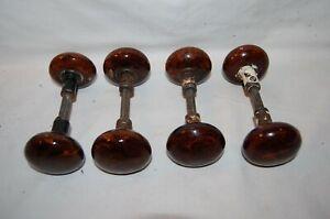 8  Original Antique  Bennington Porcelain Door Knobs & 4 Shafts