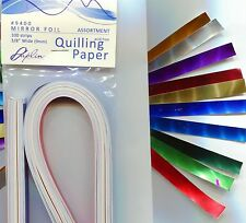 """Paplin Quilling Paper MIRROR FOILS 3/8"""" -10 Color Assortment Pk 100 pc NEW"""