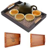 Rectangle Shape Wooden Solid Wood Tea Coffee Snack Food Meal Serving Tray Plate