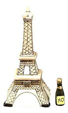 Eiffel Tower - Porcelain Hinged Box w/Champagne Bottle inside!  (boxed)