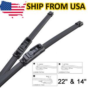 "Front Windshield Wiper Blades Frameless Wipers Fits J-HOOK U Type Arm 22"" &14"""
