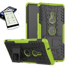 Para Sony Xperia XZ3 Carcasa Híbrida Conjunto de 2 Piezas Verde Funda + 0,3mm H9